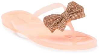 Wild Diva Lounge Joanie Rhinestone Bow Jelly Thong Sandals