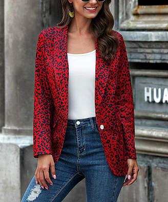 Coeur De Vague Coeur de Vague Women's Non-Denim Casual Jackets Red - Red Leopard Blazer - Women