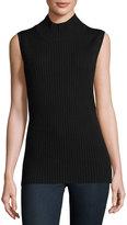 Sweet Romeo Sleeveless Mock-Neck Ribbed Sweater, Black