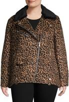 AVEC LES FILLES Plus Faux Fur-Trim Leopard-Print Biker Jacket