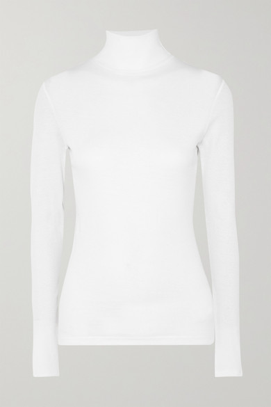 Ninety Percent Kaye Ribbed Organic Cotton-jersey Turtleneck Top - White