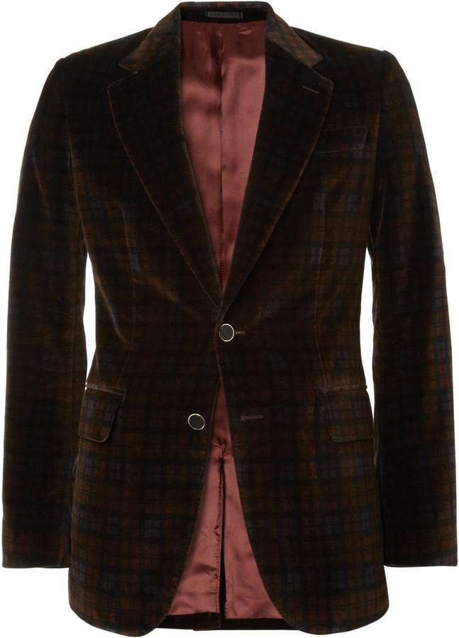 Alexander McQueen Slim-Fit Plaid Velvet Suit Jacket