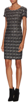 Oscar de la Renta Metallic Tweed Short Sleeve Dress