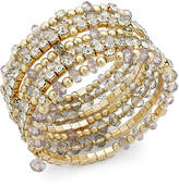 INC International Concepts I.n.c. Gold-Tone Black and Metal Bead Coil Bracelet, Created for Macy's