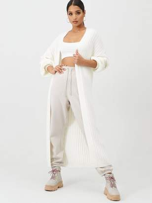 Missguided Extreme Rib Balloon Sleeve Maxi Cardigan - Cream