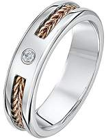 Theia His & Hers 14ct Rose and White Gold Two-Tone 5mm Wire Patterned Diamond Wedding Ring - Size L