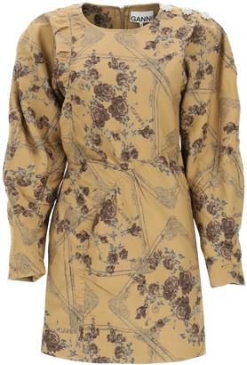 Ganni Mini Dress In Jacquard Brocade