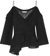 Rachel Zoe Renee Off-the-shoulder Silk-georgette Top - Black