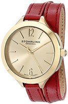 Stuhrling Original Women's 568.02 Analog Deauville Sport Swiss Quartz 23K Gold Plated Case Red Genuine Leather Wrap Around Strap Watch