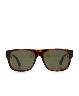 Gucci Classic Logo Arm Sunglasses Colour: HAVANA, Size: One Si