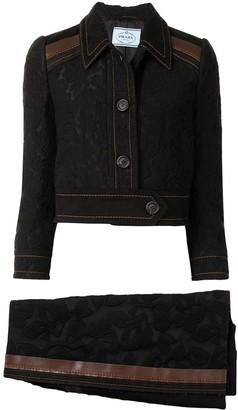 Prada Pre Owned Floral Pattern Denim Skirt Suit