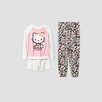 Hello Kitty Girls' 3pc Leopard Pajama Set -