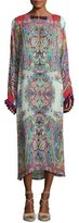 Etro Printed Midi Dress w/Tassel Trim, Red Multi
