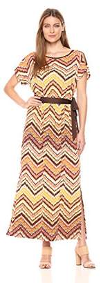 Allison Brittney Women's Split Dolman Sleeve Boat Neck Maxi W/Slits & Self Belt