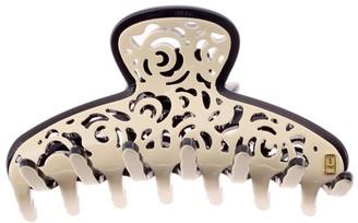 Alexandre de Paris Hair Slide Veloute Beige 8.5Cm