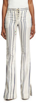Roberto Cavalli Striped Tie-Front Bell-Bottom Jeans, White/Blue