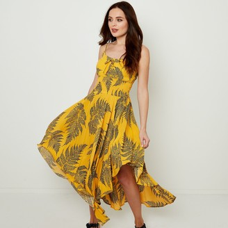 Joe Browns Leaf Print Midi Dress with Asymmetric Hem and Shoestring Straps