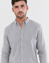 Farah Minshell slim fit flannel shirt in light gray