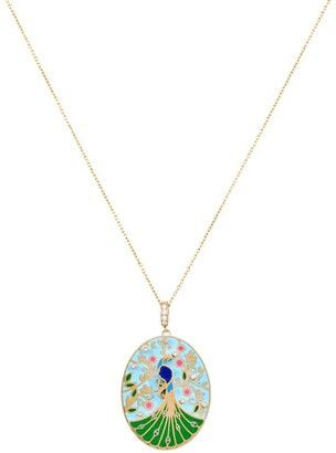 L'Atelier Nawbar Yellow Gold And Diamond Rich Kitsch Wise Peacock Pendant Necklace