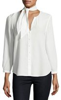 Joie Nile Tie-Neck Silk Shirt, White