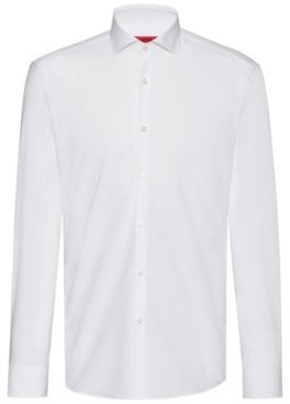 HUGO Slim-fit shirt in cotton with extra-long sleeves