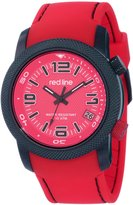 "Redline line line Men's RL-50043-BB-05-RD ""Octane"" Black Ion-Plated Stainless Steel and Silicone Watch"