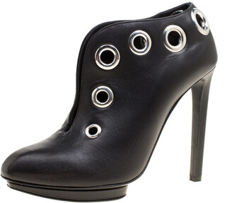 Alexander McQueen Black Leather Eyelet Embellished Ankle Booties Size 38