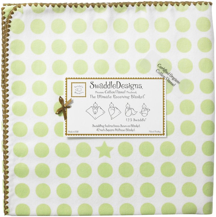 Swaddle Designs Organic Ultimate Receiving Blanket - Kiwi Dots and Stars with Mocha Trim