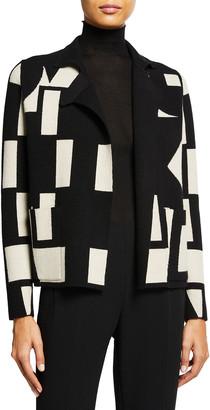Akris Geometric Jacquard Cashmere Reversible Cardigan