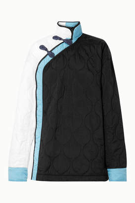 House of Holland Oversized Color-block Quilted Shell Jacket - Black