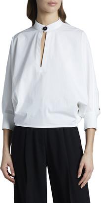 Proenza Schouler 3/4-Sleeve Poplin Banded-Collar Blouse