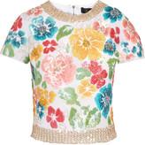 Jenny Packham Embellished silk-twill top