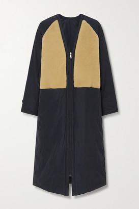 Kassl Editions Tafta Reversible Shearling-trimmed Shell Coat - Navy