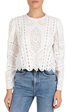 The Kooples Eyelet Embroidered Top