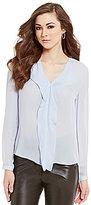 Antonio Melani Nora V-Neck Long Sleeve Ruffle Georgette Silk Blouse