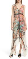 Tracy Reese Women's Print Silk Handkerchief Hem Maxi Dress