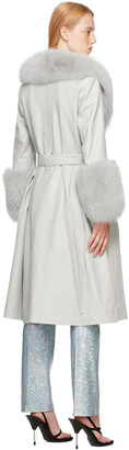Saks Potts Grey Fur Foxy Coat