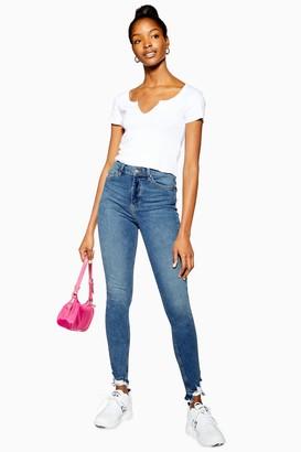 Topshop Womens Tall Mid Blue Rip Hem Jamie Jeans - Mid Stone