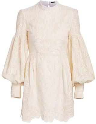 Wandering Open-Back Puff Sleeve Macrame Lace Mini Dress