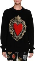 Dolce & Gabbana Long-Sleeve Oversized Wool-Blend Sweater w/ Heart Print