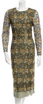 Wes Gordon Embroidered Silk-Accented Dress w/ Tags
