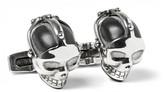 Alexander McQueen Skull Burnished Silver-Tone Enamel Cufflinks