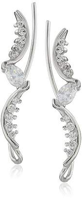 The Ear Pin Sterling White Cubic Zirconia Marquise Earrings