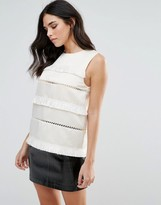 Endless Rose Sleeveless Shell Top With Fringe Detail
