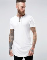 Asos Super Longline Muscle T-Shirt With Lace Up V Neck And Curved Hem In Off-White
