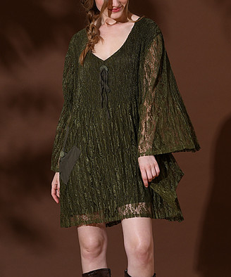 Pretty Angel Women's Casual Dresses GREEN - Green Ruffle-Sleeve Floral Lace Pocket Shift Dress - Women
