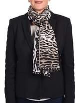 Roberto Cavalli Animal-printed Silk Scarf Black/white/brown.