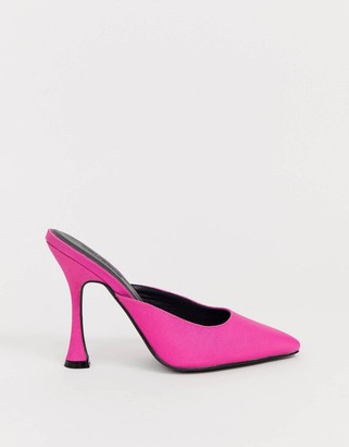 Truffle Collection pointed high heel mules in pink