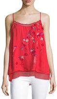 Elie Tahari Aldin Floral-Appliqué Camisole Blouse