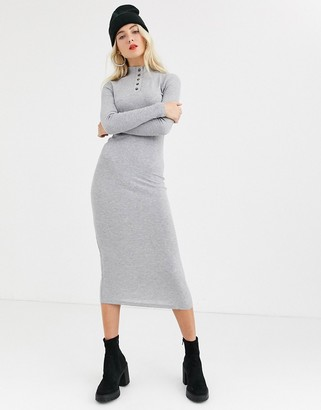 Noisy May high neck ribbed midi dress-Grey
